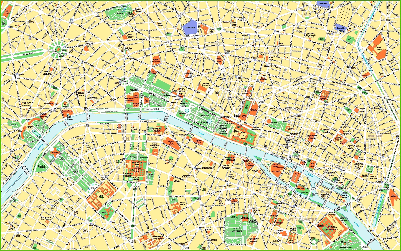 Cartina Centro Di Parigi.Il Centro Di Parigi Sulla Mappa Mappa Di Parigi Attrazioni Del Centro Della Citta Ile De France Francia