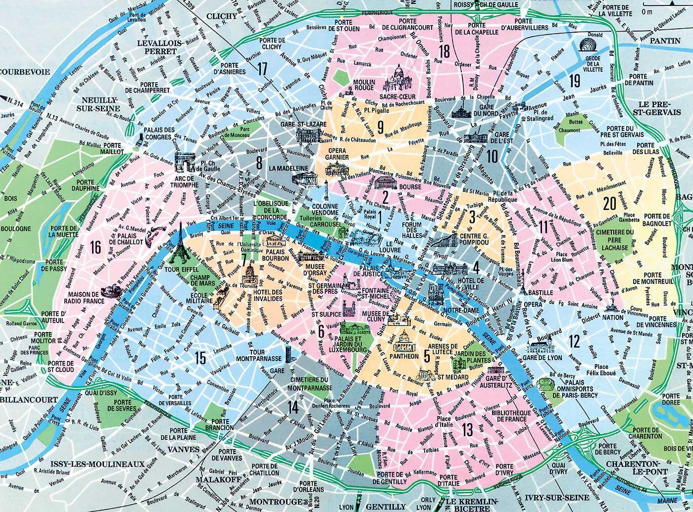 Parigi Cartina Arrondissement.La Mappa Dei Quartieri Di Parigi Mappa Di Parigi Francia Distretti Ile De France Francia