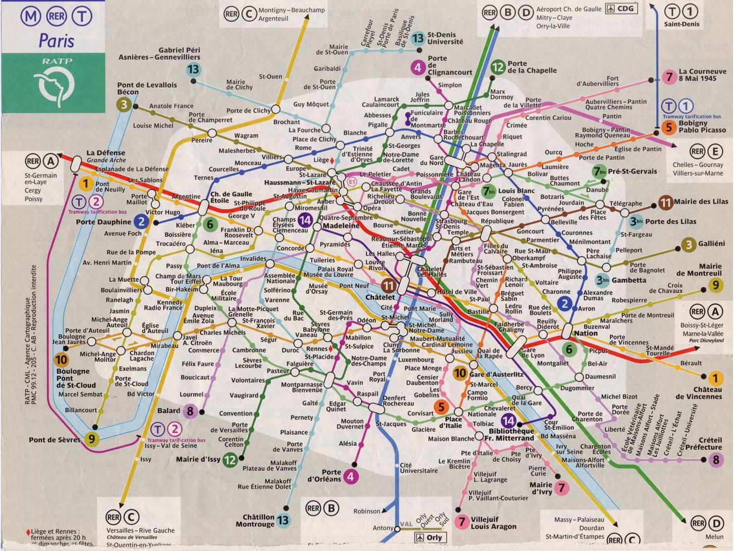Cartina Parigi Con Monumenti E Metro.Parigi Metropolitana Mappa Di Parigi Linea Ferroviaria Mappa Ile De France Francia