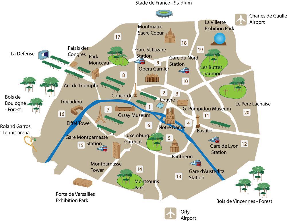 Cartina Parigi Con Monumenti Principali.Parigi Monumenti Mappa Cartina Di Parigi Musei E Monumenti Ile De France Francia