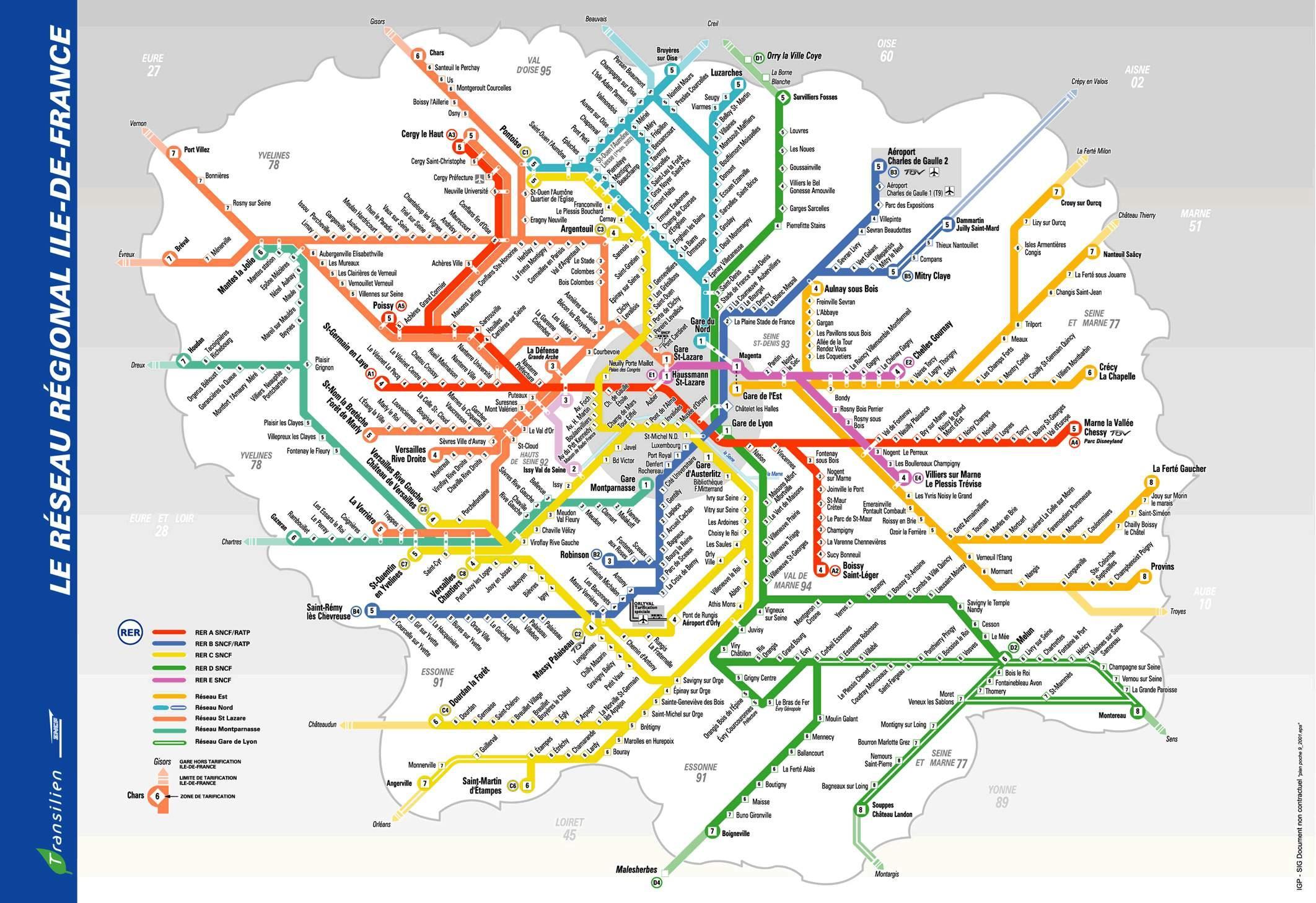Cartina Treni Francia.Parigi Rer E Della Metropolitana Mappa Rer Mappa Della