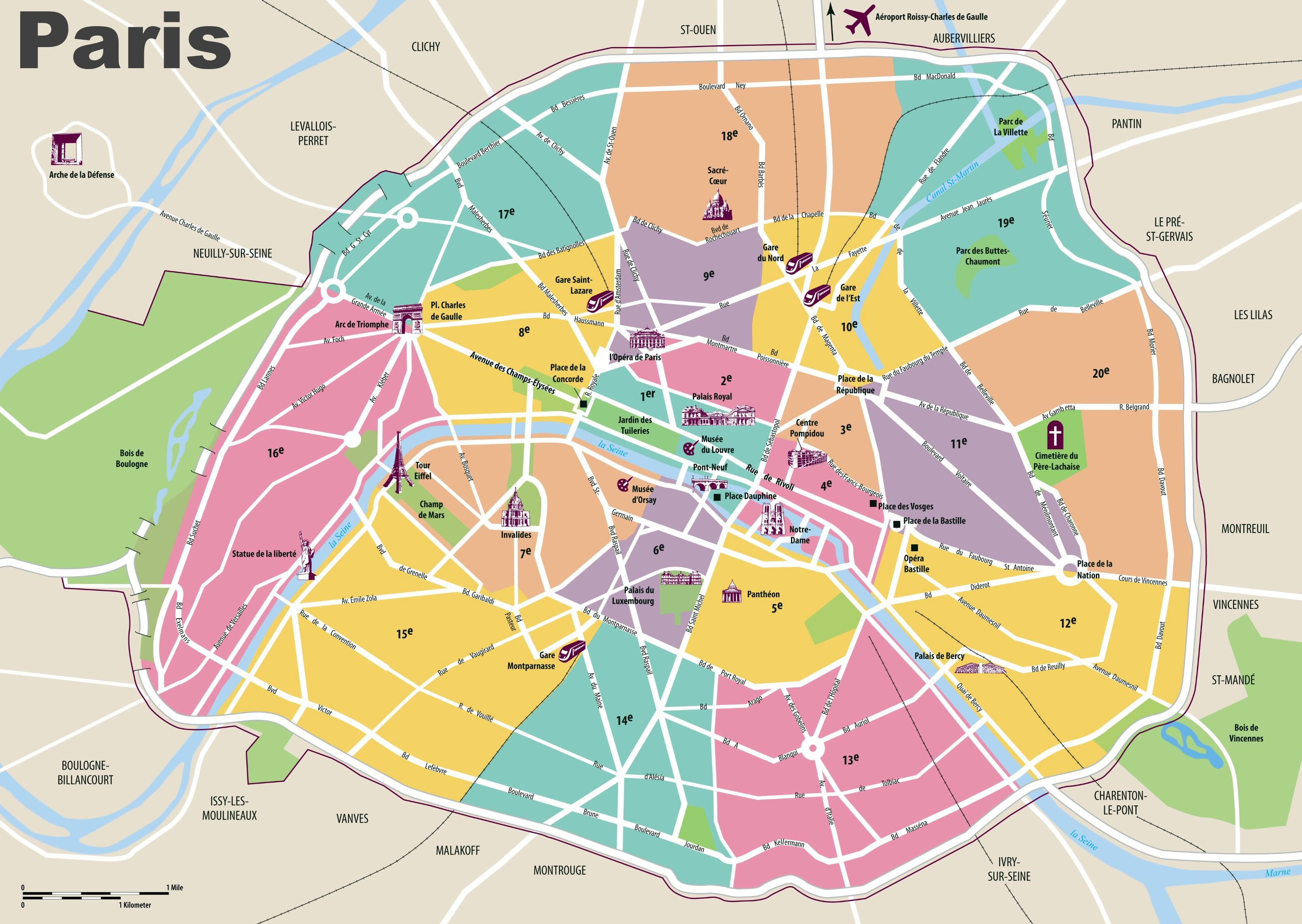 Parigi Cartina Monumenti.Parigi Mappa Di Viaggio Parigi Mappa Visitatori Ile De France Francia