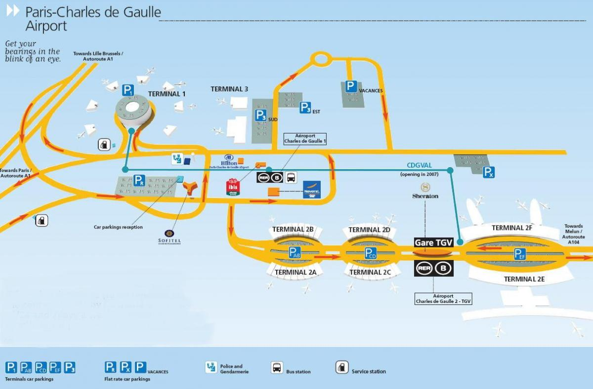 charles du gaulle airport sulla mappa