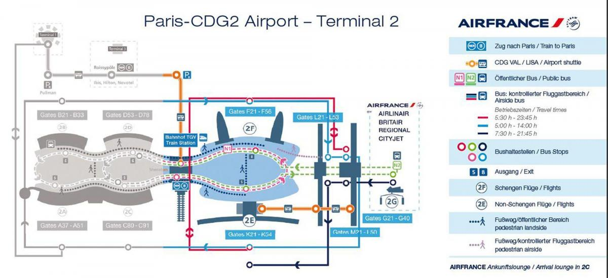 charles de gaulle terminal 2 mappa