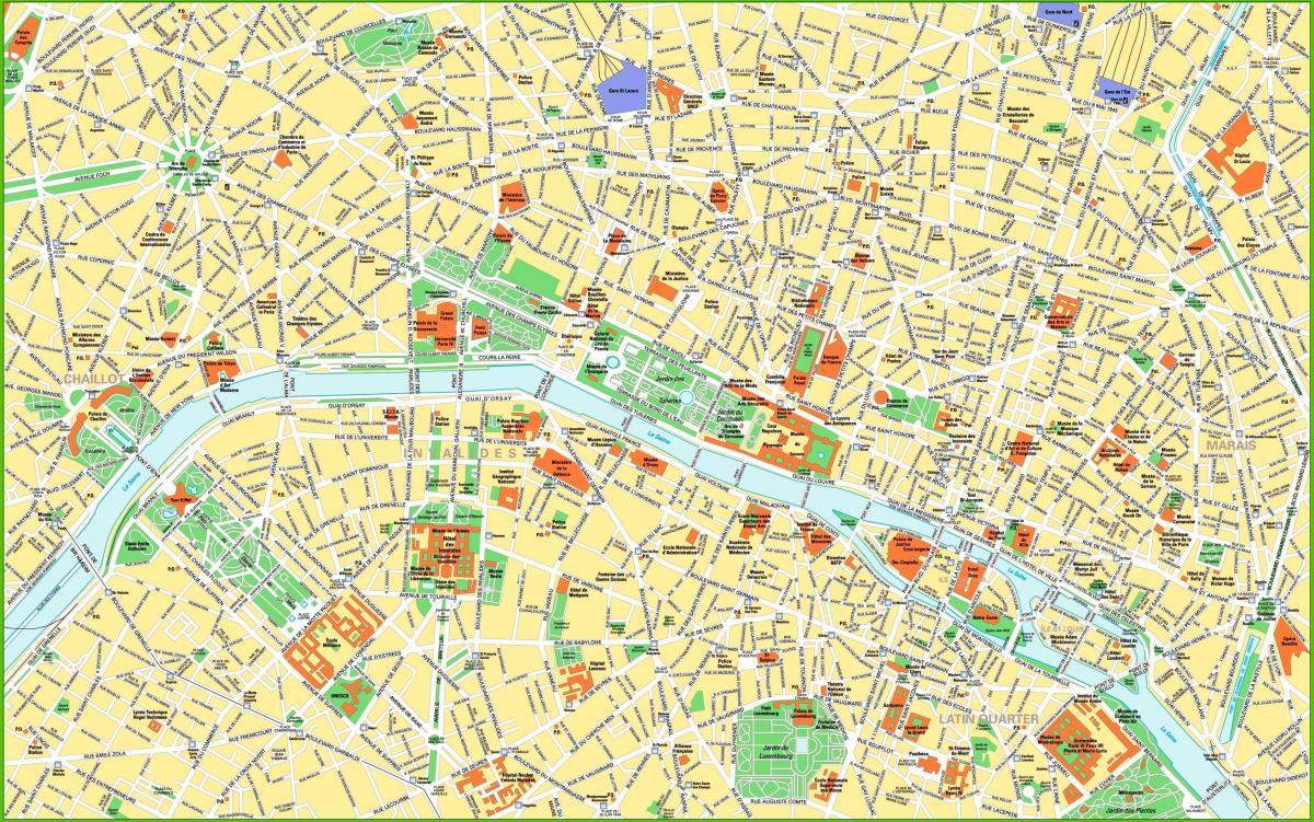 Parigi Cartina Monumenti.Mappa Del Centro Di Parigi Mappa Di Parigi Ile De France Francia
