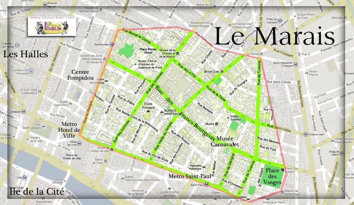 Cartina Parigi Con Quartieri.Marais Parigi Mappa Mappa Di Parigi Marais Ile De France Francia