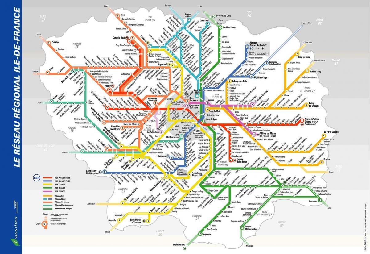 Cartina Mezzi Pubblici Parigi.Mezzi Di Trasporto Pubblico Di Parigi Francia Della Mappa Cartina Di Parigi Sistema Di Trasporto Ile De France Francia